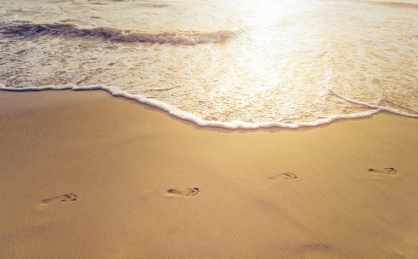 High Angle View Of Footprints At Beach