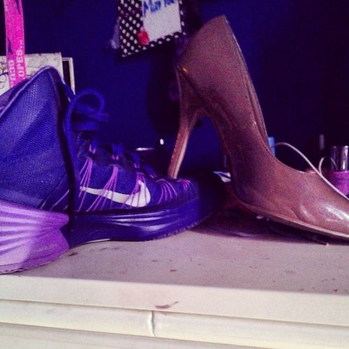 Its funny how I kept finding my high heel shoe with my basketball shoe....Mytruelifestyle Basketball HighHeels Mylife