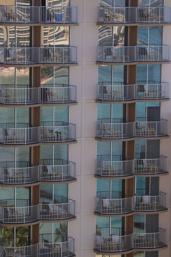 Apartment Architectural Feature Architecture Balcony Building Building Exterior Building Story Built Structure City City Life Full Frame Geometric Shape Oahu, Hawaii Railing Repetition Residential Building Tall - High Window