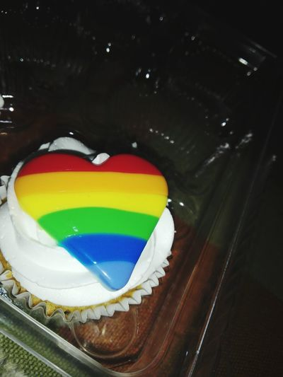 Multi Colored Cupcake Gay Pride g GAY FLAG Colorful Food Heart Color Hear