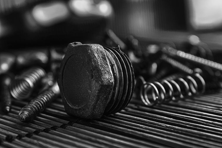 Bolt Studio Workshop Arts Culture And Entertainment Background Cable Close-up Equipment Focus On Foreground Indoors  Large Group Of Objects Metal Mock Up Monochrome Music Musical Instrument No People Old Pattern Plank Screw Screwdriver Selective Focus Shiny Steel Still Life Studio Shot Table Work Tool