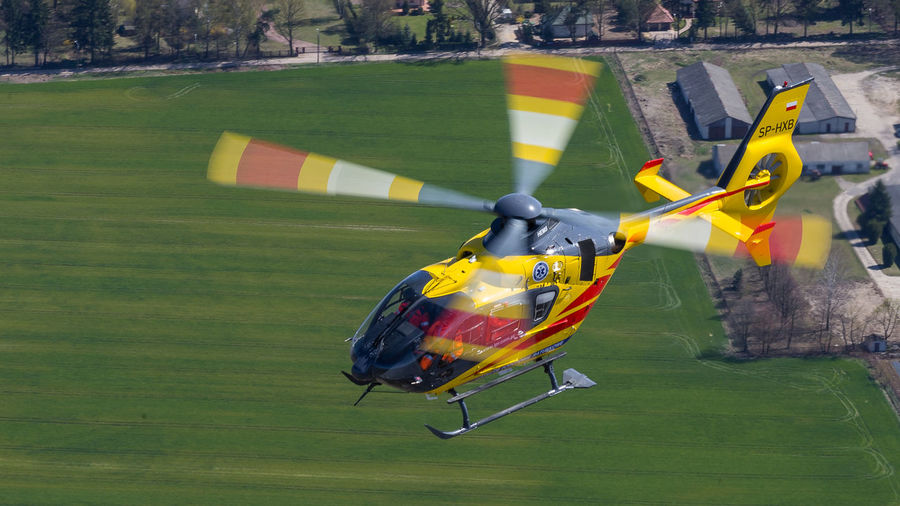 Air Airbus Ambulance Ec135 Emergency Eurocopter Flying H135 Helicopter Hems Mazovia Medical Mid-air Poland Rescue Service Warsaw
