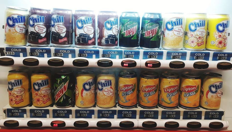 Can drinks of vending machine Lipton Chill Mountain Dew Aluminum Can Black Button Cans Drink Can Drinks For Sale Vending Machine Vending Sale In A Row Choice Variation Large Group Of Objects Abundance For Sale No People Indoors  Multi Colored Store Retail  Business