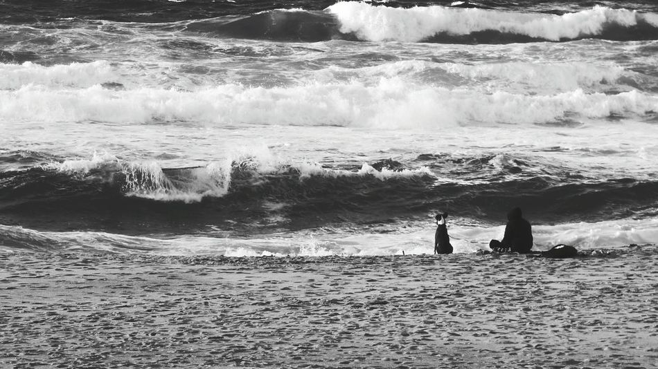 The Dog and the Young Boy on the Beach watching the Waves Crashing Human Representation Monochrome Photography Human Figure Week On Eyeem Monochrome Black And White Eyeem Photography Showcase: November Eyeem Best Photo Blackandwhite Photography Human Silhouettes Sea Water Horizon Over Water Sea Outdoors Eyeemphotography Beach And Sea Beach And Waves Live For The Story