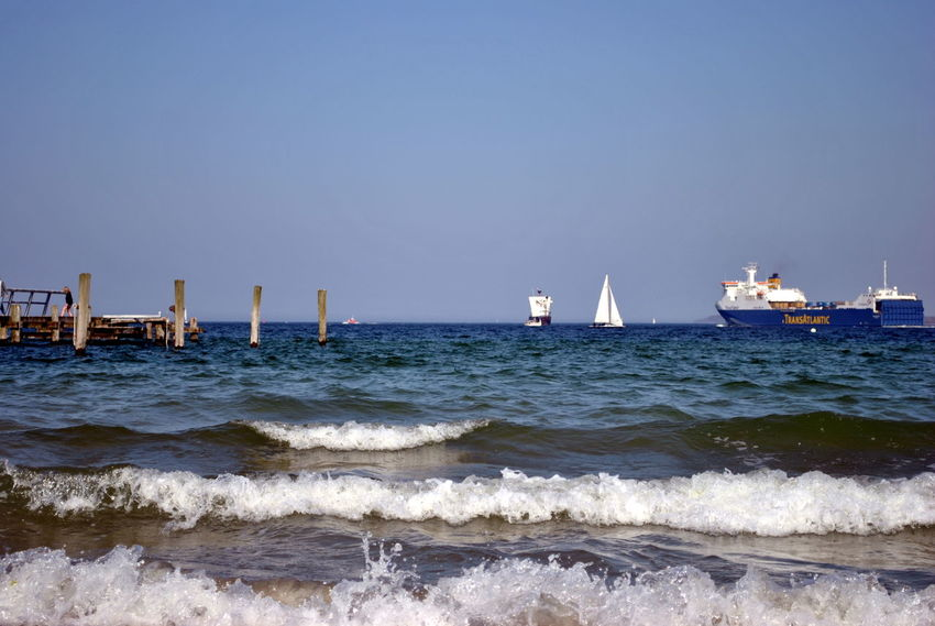 Something blue Sea Nautical Vessel Beach Wave Water Day Outdoors Horizon Over Water Transportation No People Harbor Shipping  Scenics Landscape Sky Nature Sailing Clear Sky Tall Ship Waves Baltic Sea Lübecker Bucht Travemünde Blue Place Of Heart Sommergefühle #FREIHEITBERLIN