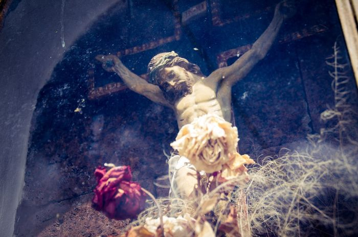 Canary Islands Catholic Church Crucifix Dry Flowers Flowers Jesus Masca Masca Valley Reflections Religious  Roses Sculpture Shrine SPAIN Spanish Tenerife Vibrant Fine Art Photography Colour Of Life