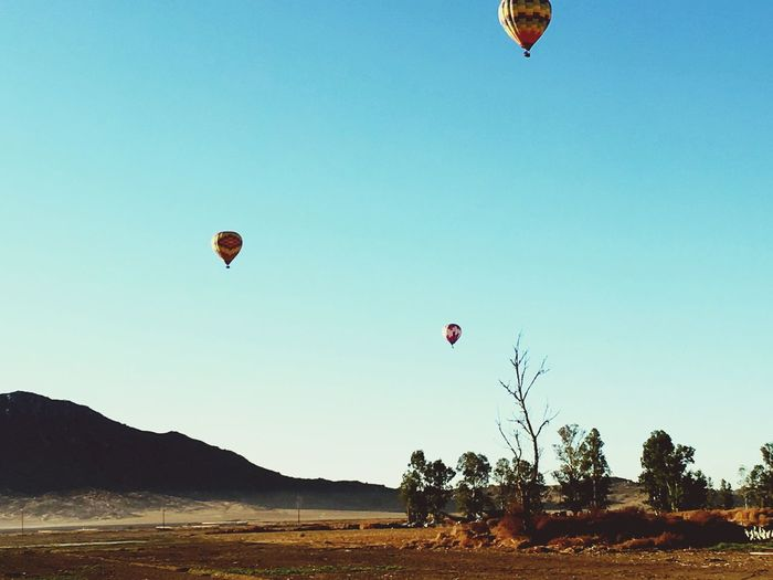 Hot air balloons flying over land against clear sky