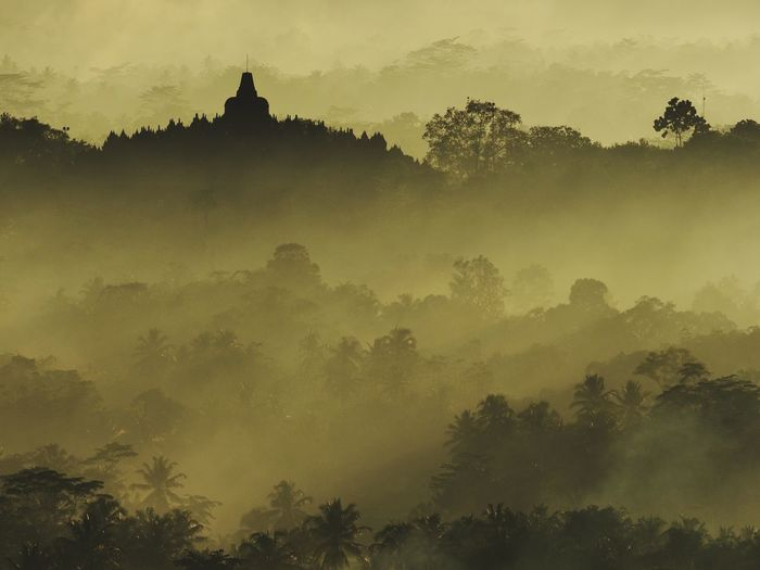 Borobudur temple with morning mist and sun ray of light