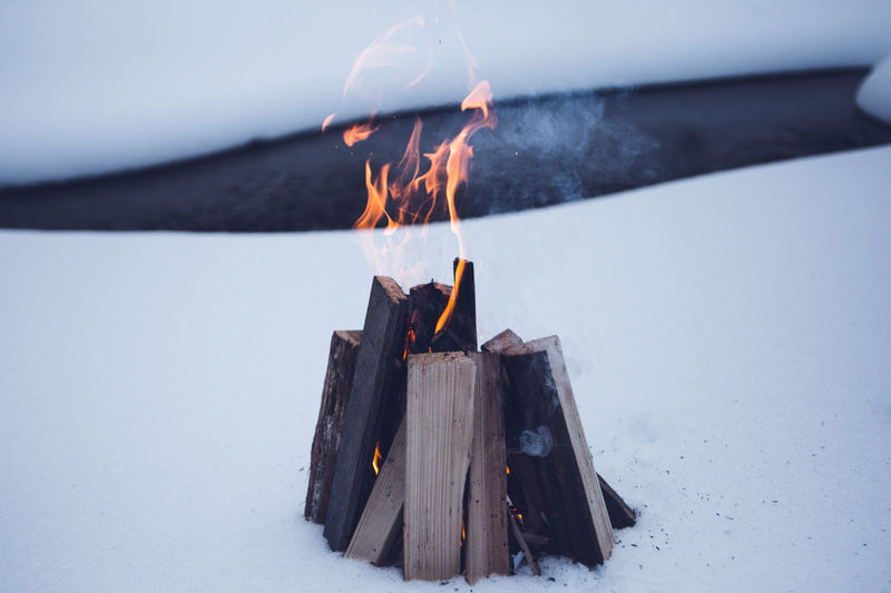 Close-Up Of Bonfire On Snowfield