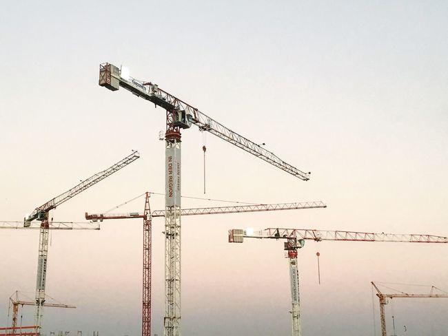 cranes Construction Site Architecture Sky Art Bestoftheday Outdoors Crane Eye4photography  EyeEm Best Shots Minimalism