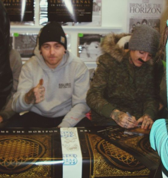 Matt giving me the thumbs up tho,wut?:o Matt Nicholls  Bring Me The Horizon Signing Best Day Ever