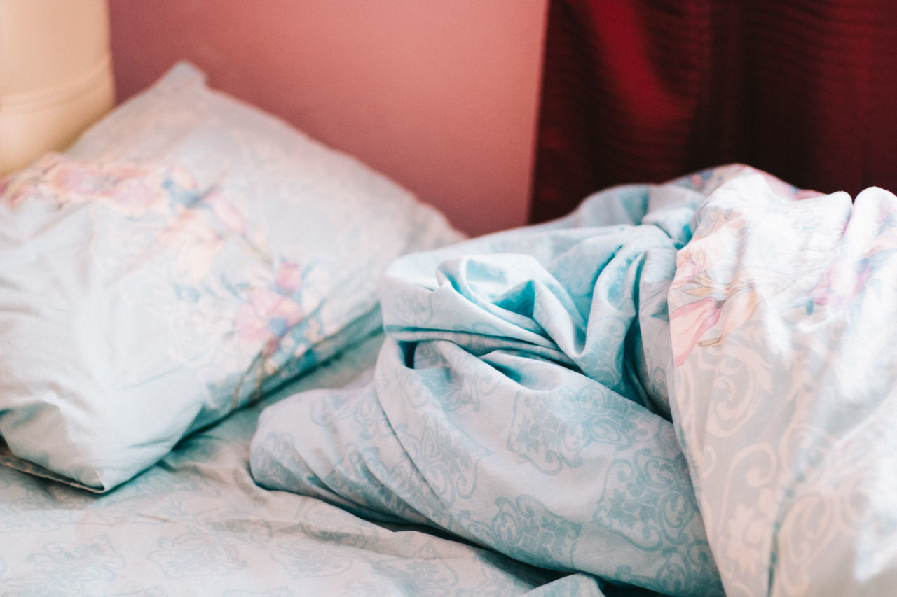 Close-up of a messy bed