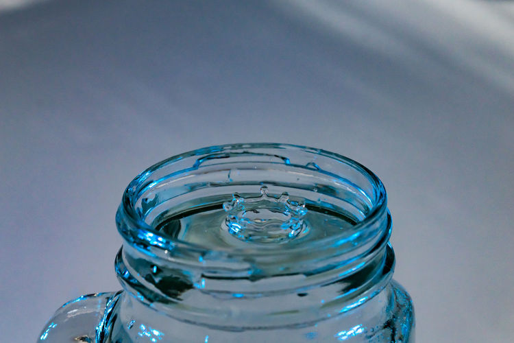 Close-up of water in glass jar