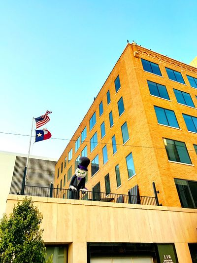 Flag Architecture Patriotism Built Structure Low Angle View Building Exterior Day Clear Sky Outdoors Men Real People Tree Sky Stars And Stripes People Watcher Halloween Balcony Balloon Midland, TX