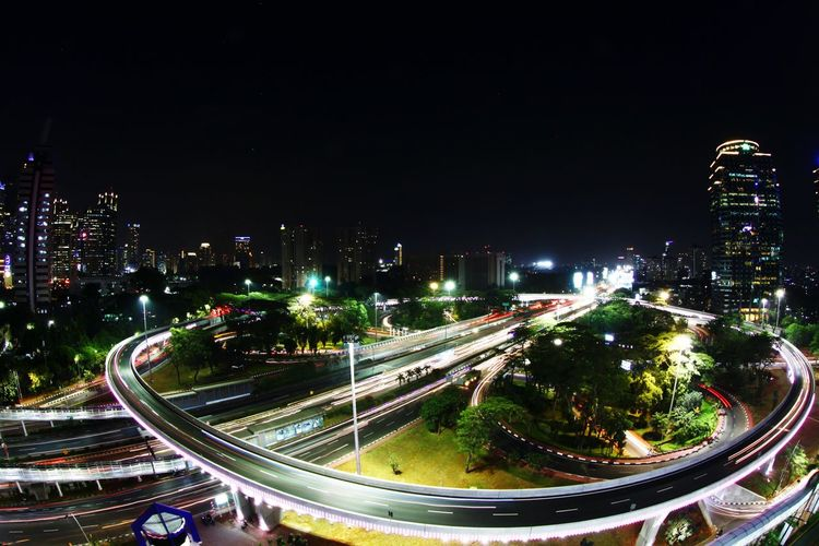 Jakarta Interchanges Interchanges Illuminated Light Trail High Angle View City Architecture Cityscape Long Exposure Outdoors Transportation Jakartainterchanges