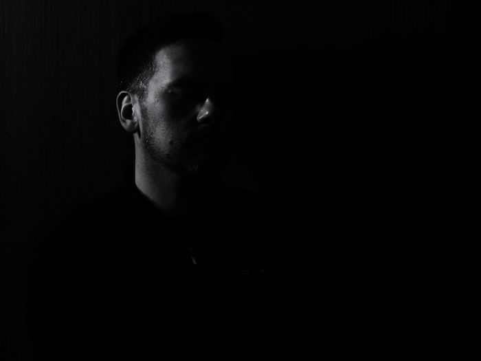 Portrait Light And Shadow Black And White Men Human Face Chiaroscuro  Headshot Black Background Dark Close-up Film Noir Style