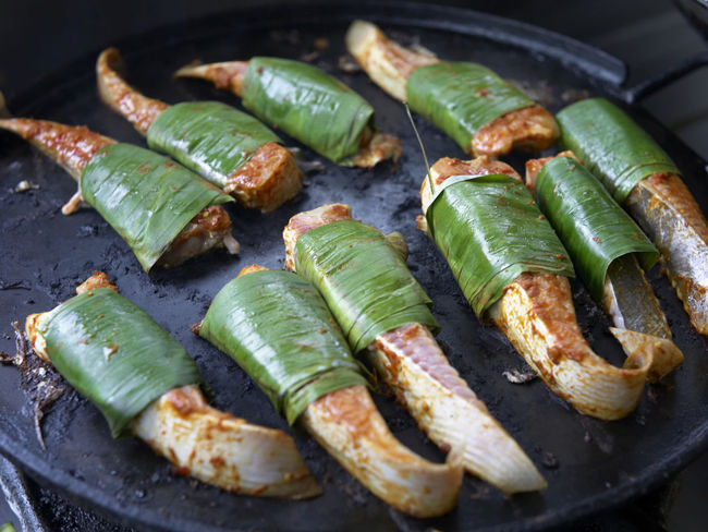 grilled fish, stingray Hot Hot Plate Malaysian Food SLICE Spicy Wrap Asian Food Banana Leaf Chili  Close-up Day Food Food And Drink Freshness Grill Grill Fish Stingray