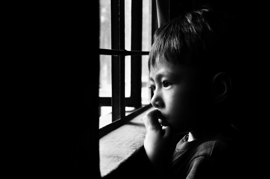 Baby Blackandwhite Childhood Close-up Contemplation Day Day Dreaming Economics Headshot Indoors  Innocence Leisure Activity Looking Away Monochrome One Person People Real People Shirtless Thoughts