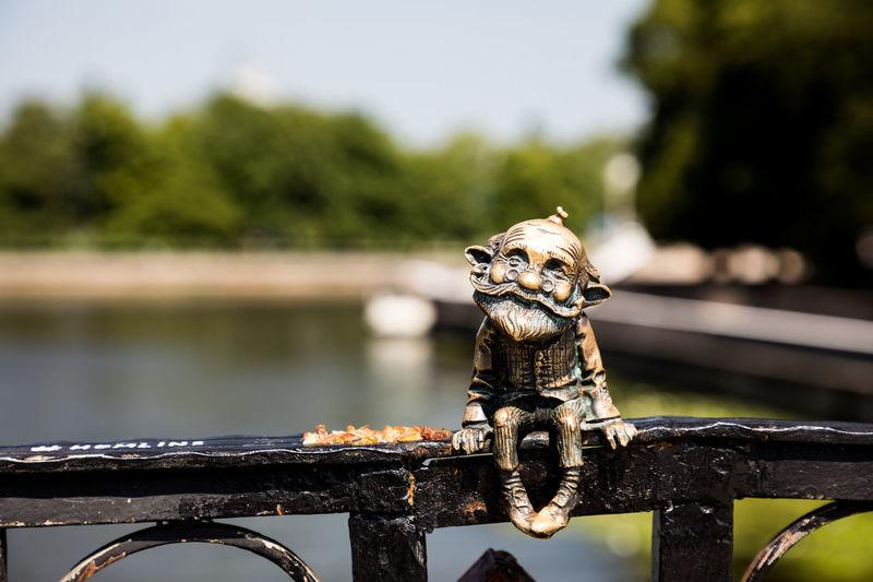 The first bronze figure of Khomlin in Kaliningrad, located on the Honey bridge EyeEmSelect Fairytale  WeekOnEyeEm Day Domestic Animals Focus On Foreground Mythology Nature No People Tree
