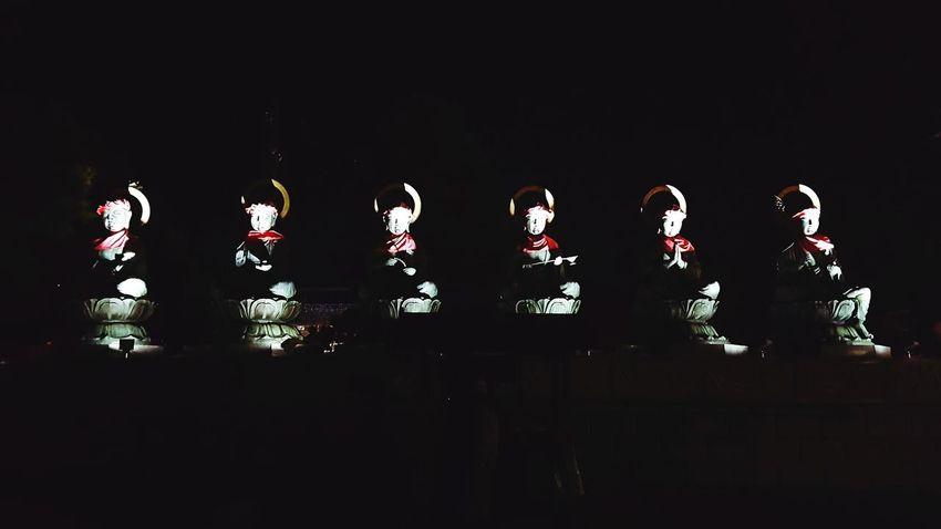 日本 和 長野県 寺 夜景 Japan Nagano Temple 善光寺 (zenko-ji Temple) 地蔵 Light Up Illumination Guardian Light And Shadow Night Six No People Black Background Indoors  Day