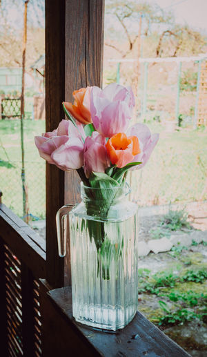 Flowering Plant Flower Plant Freshness Beauty In Nature Vulnerability  Fragility Petal Nature No People Flower Head Close-up Vase Wood - Material Inflorescence Day Focus On Foreground Pink Color Outdoors Tulip Flower Arrangement Bouquet My Best Photo