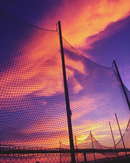 Sunset Chainlink Fence Low Angle View Sky Net - Sports Equipment Orange Color Nature Day First Eyeem Photo