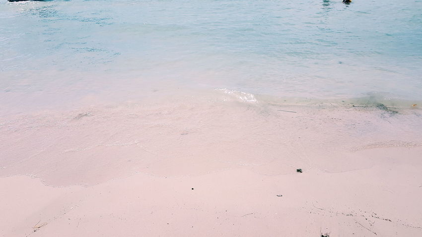 Beach Sand Pink Color Nature Water Blue Tranquility No People Outdoors Day Pastel Colored Backgrounds Landscape Sea Summer Beauty In Nature Sky Beauty Wave Horizon Over Water