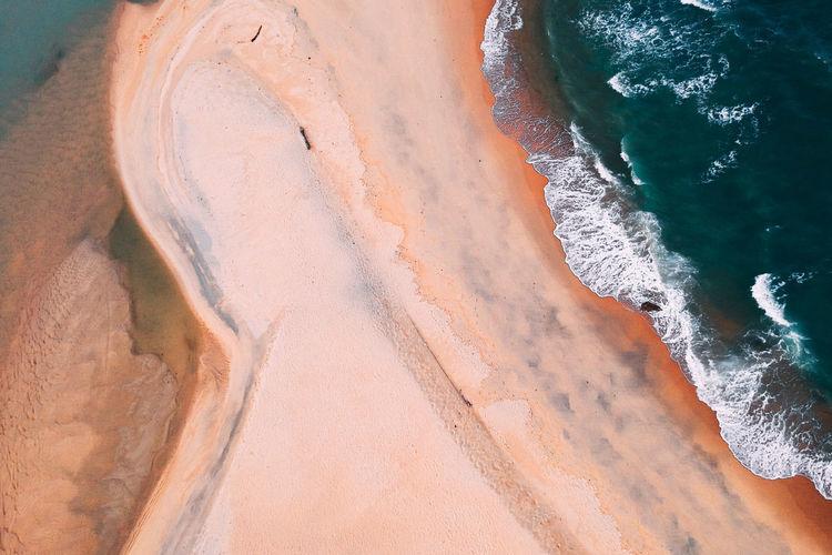 Sand Dune Water Beach Sand Desert Full Frame Close-up