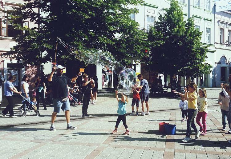 Spring Happiness Childhood Children Playing Serbia Novi Sad Bubbles City Life Vacation