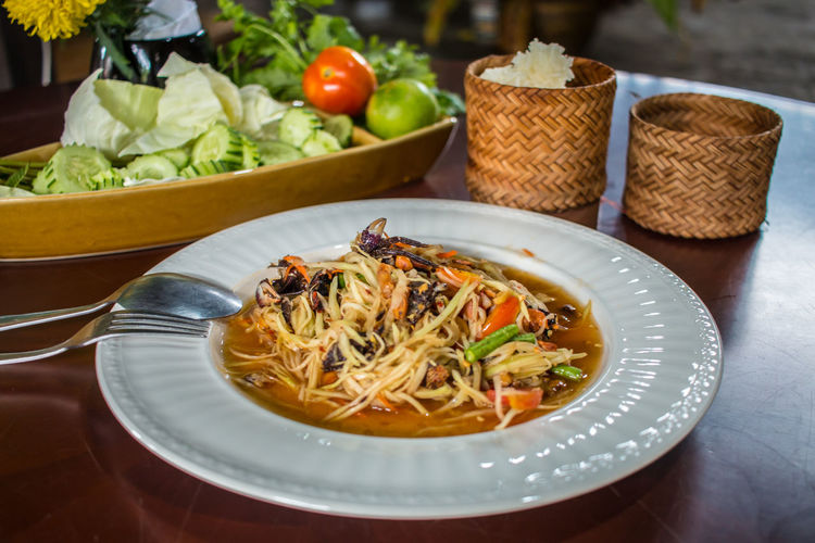papaya salad and grilled Chicken thai food style. Grilled Chicken Papaya Salad,spicy,thai Food Papaya Salad Somtum Thai Food Food Food And Drink Freshness Grilled Food Style Healthy Eating Indoors  Meal No People Papaya Salad Plate Ready-to-eat Still Life Table Thai Food Vegetable Wellbeing