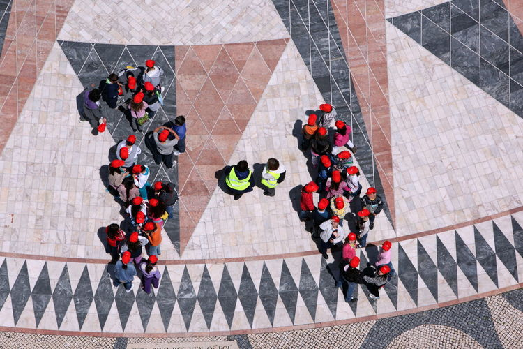 High angle view of people standing together