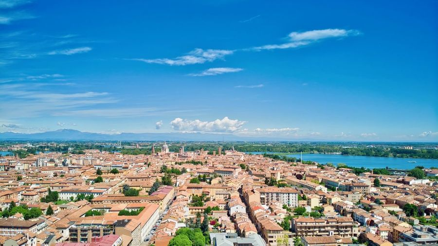 Italy, Mantua: view of the city historical center Scenics Landascape Aerial View Drone  Outdoors Day Daylight Daytime Sunny Unesco UNESCO World Heritage Site Residential Building Architecture History Travel Travel Destinations Travel Destination Building Exterior Built Structure Sky City Cityscape Building Cloud - Sky Residential District Water Nature Blue High Angle View No People Horizon Sea TOWNSCAPE Panoramic