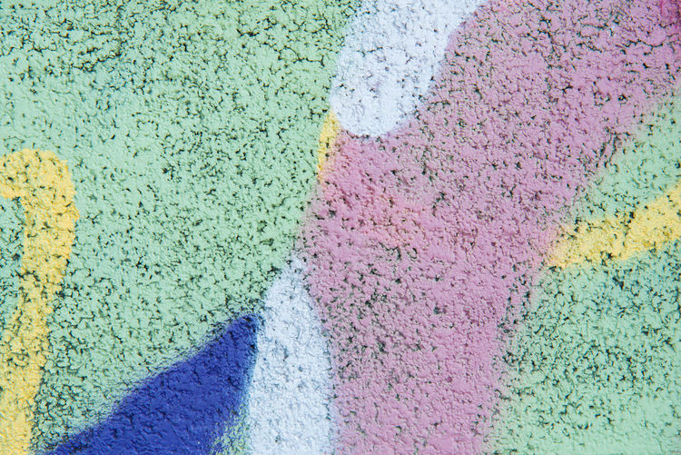 Multi Colored Full Frame Backgrounds No People Close-up High Angle View Textured  Day Pattern Powder Paint Green Color Pink Color Creativity Art And Craft Outdoors Paint Variation Painted City Wall - Building Feature Purple