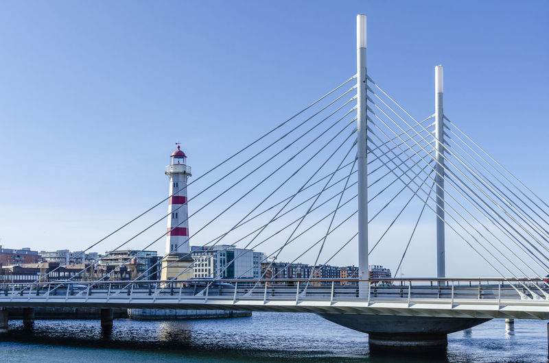 Malmö - Lighthause at Malmö Port. Baltic Sea Lighthouse Architecture Bay Bridge Bridge - Man Made Structure Building Exterior Built Structure Cable-stayed Bridge City Clear Sky Connection Sky Suspension Bridge Transportation Travel Destinations Water