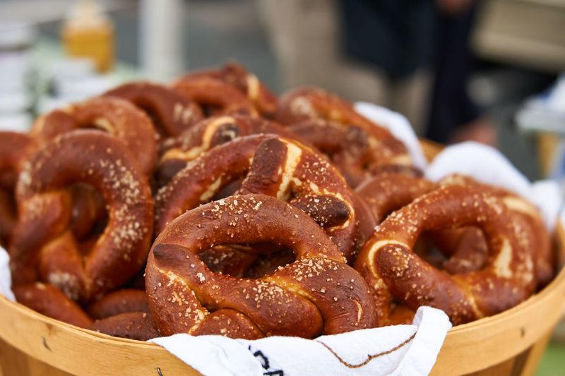 Close-up of pretzels for sale at market