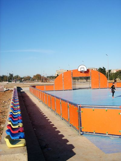 Architecture Basquetball Blue Building Exterior Built Structure Chaises Clear Sky Day Gimnastic Muticouleur No People Outdoors Sky Sport Terrain Tribune