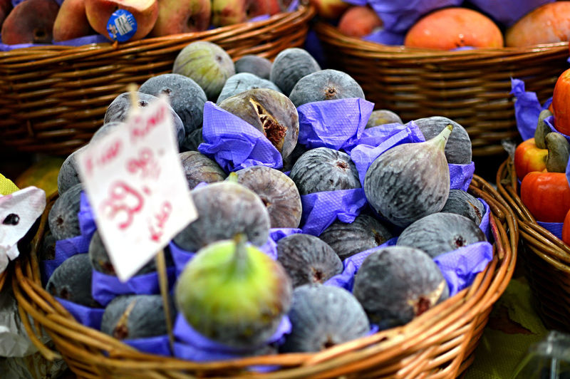 Close-Up Of Figs In Basket For Sale
