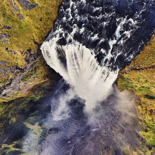 Skgafoss Waterfall from directly above. A must see natural attraction on the ring road. Stream Flowing Day Nature Power In Nature Outdoors Flowing Water Rock Formation Rock Waterfront Softness Beauty In Nature Rocky No People Tranquility