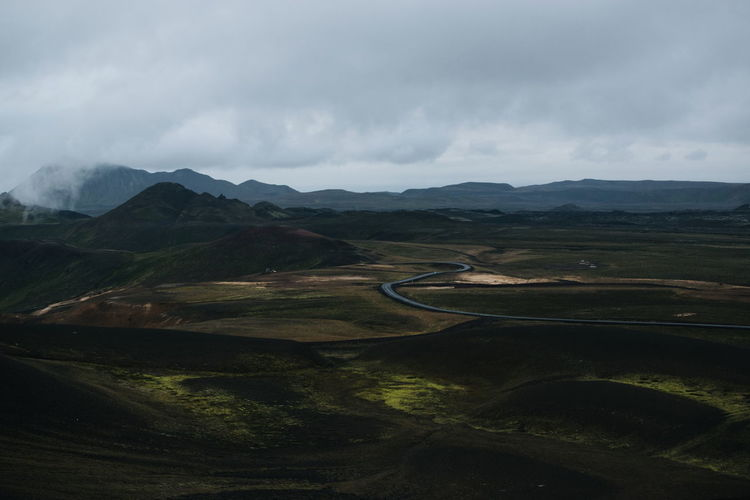 Iceland Volcanic Landscape Volcanoes Road Road Mountain Water Rural Scene Agriculture Sky Landscape Mountain Range Foggy Empty Road It's About The Journey