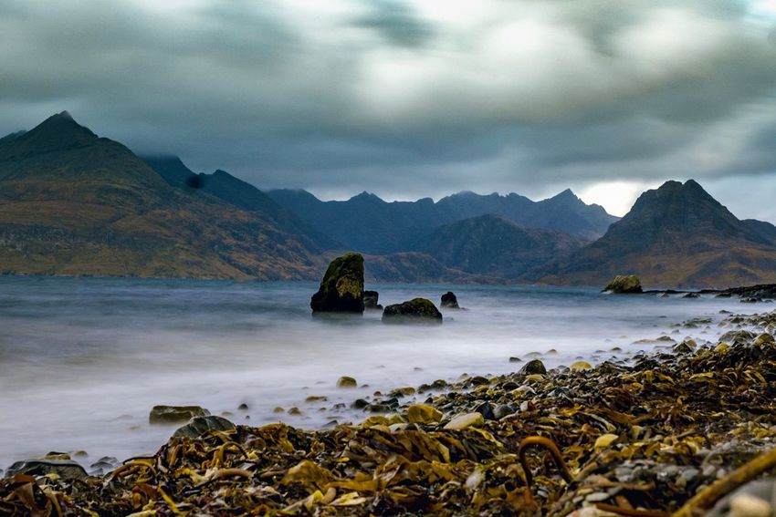 Long Exposure Coastline Cullins Wilderness Skye Scotland Cloud - Sky Sky Water Mountain Beauty In Nature Scenics - Nature Tranquility Tranquil Scene Mountain Range Nature