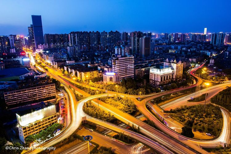 overpass Night Light Trail Traffic Speed Long Exposure High Angle View Road Architecture City Street Street Light City Street City Life
