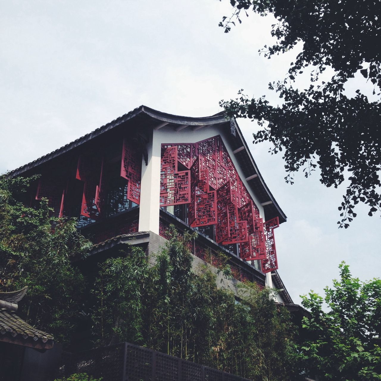 Low angle view of house