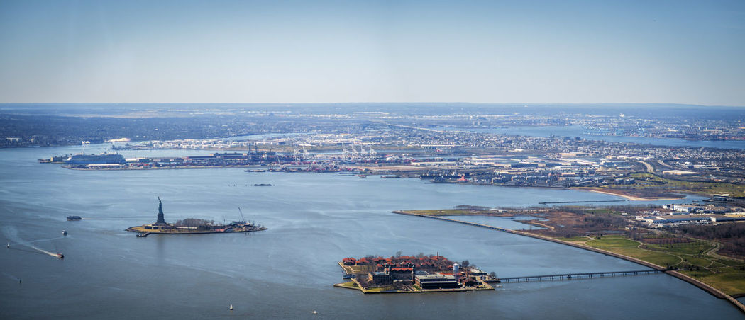 Liberty View Aerial View Architecture City Cityscape Clear Sky Ellis Island  High Angle View Liberty Statue Oneworldobservatory Oneworldtradecenter Sea Water