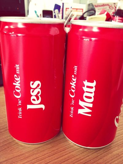 .@cocacola_de made these cans for @matthewcbostock and myself. so adorable.