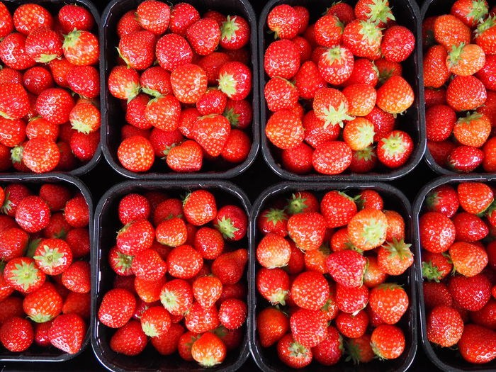 Full frame of strawberries in containers for sale