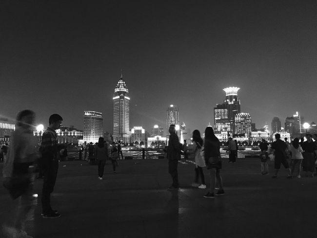 the view Travel Vacations Tourism Built Structure Night Illuminated City Blackandwhite Photography Modern Shanghai Shanghai, China