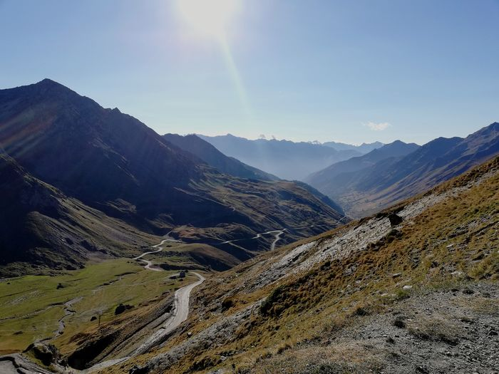 Tourmalet Pyrenees Blue Sky Road Mountain Sunlight Sky Mountain Range Landscape Mountain Ridge Refraction Valley Pine Woodland Mountain Road My Best Travel Photo
