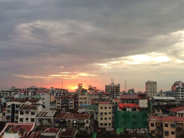 Sunset over Yangon Myanmar Sunset Cityscape City Sky Cloud - Sky Travel Destinations Urban Skyline
