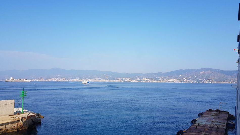 Messina Strait Sea Sicily Sicilia Water Sea Beach Clear Sky Blue Mountain Sunny Sky Horizon Over Water Seascape