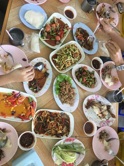 Somtum Thaifood Somtum Pu-plarha Somtum Thai Food And Drink Table Food And Drink Food High Angle View Freshness Still Life Indoors  Bowl Setting Meal